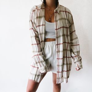 Vintage Oversized Button Up Flannel Cream